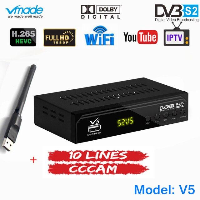 무료 1 년 유럽 10 라인 CCCAM 서버 완전 HD DVB S2 디지털 위성 TV 수신기 H.265 지원 AC3 DVB S2 TV Box + WIFI