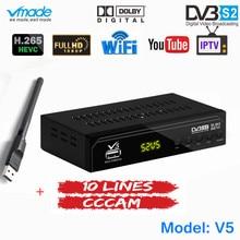 משלוח 1 שנה אירופה 10 קווים CCCAM שרת עם באופן מלא HD DVB S2 דיגיטלי לווין מקלט H.265 תמיכה AC3 DVB S2 טלוויזיה תיבה + WIFI