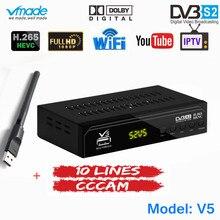 Serveur CCCAM gratuit 1 an Europe 10 lignes avec récepteur de télévision par Satellite numérique DVB S2 entièrement HD H.265 Support AC3 DVB S2 TV Box + WIFI