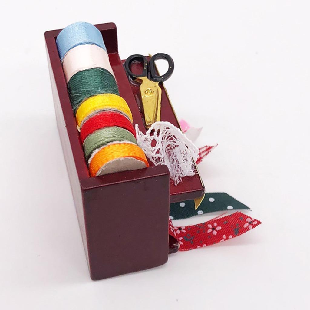 Dollhouse Miniature Needlework Kit Sewing Supply NeedleBox Tools Accessory 1:12