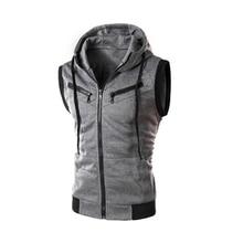 Men's Fashion s Drawstring Hooded Zipper Slim Fit Vest Waistcoat Outerwear