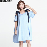 DIMANAF 2018 Women Summer Dress Plus Size Hawaiian Beach Sundress Striped Print Fashion PatchworkOff Shoulder New