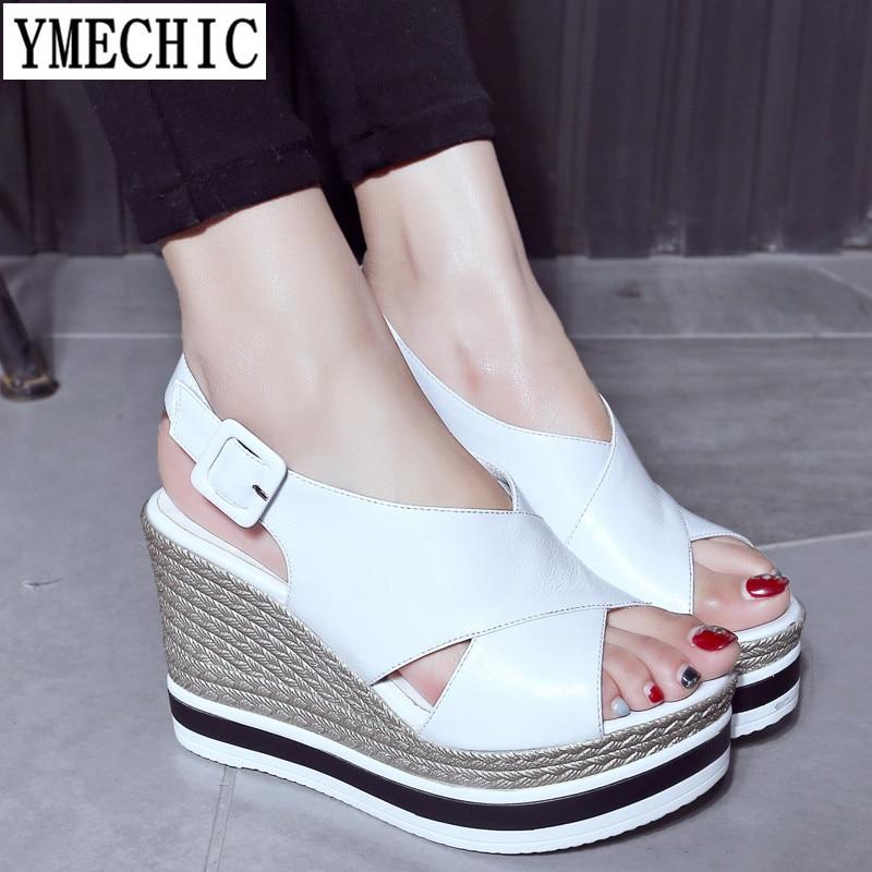 YMECHIC 2018 Summer Platform Sandals High Heels Wedges Womens Gladiator Back Buckle Sandal Cross Tied Platforms