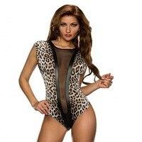 2017 New Hot Sexy Mesh Sheer Teddy Body Romper Bielizna noc Nosić E3196 Erotyczna Teddy Leopard Trykot Ciała Garsonka kobiety
