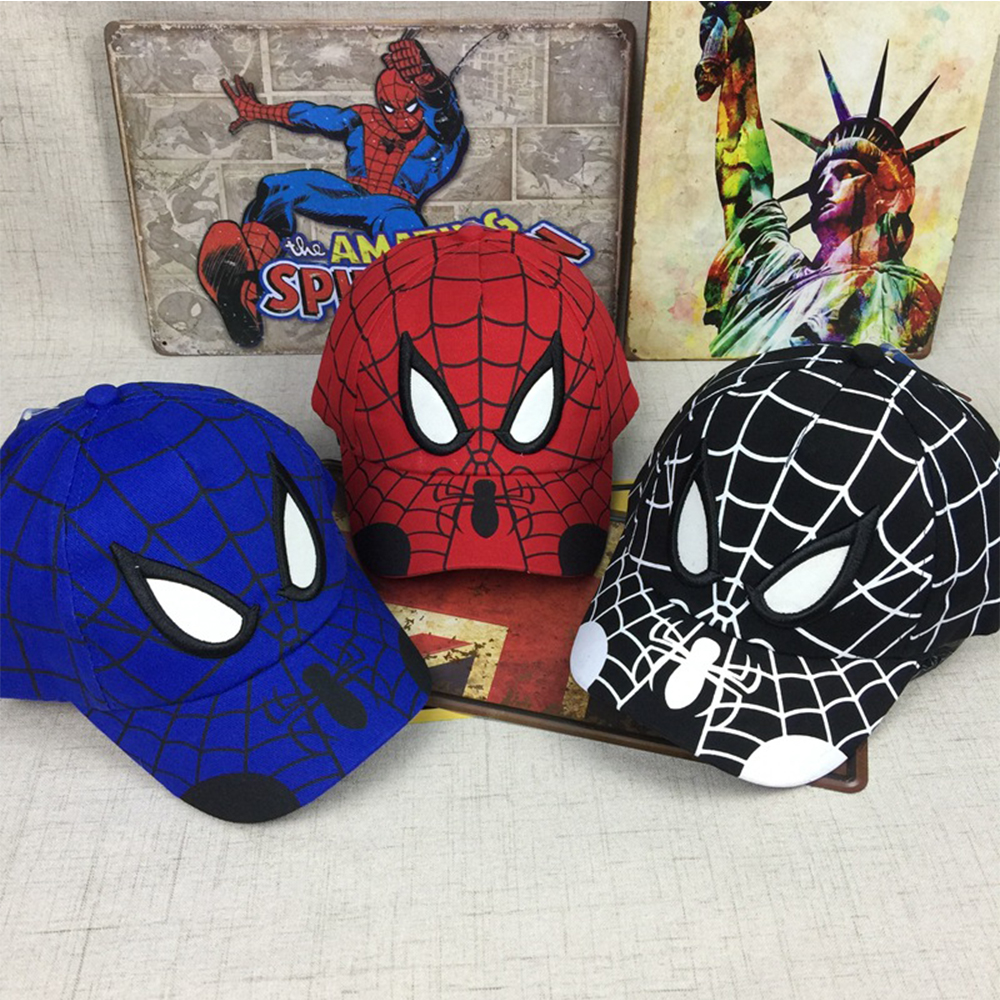2018 Spiderman Cartoon Niños Bordado Algodón Gorra de béisbol niños Boy Girl Hip Hop Sombrero Spiderman cosplay sombrero
