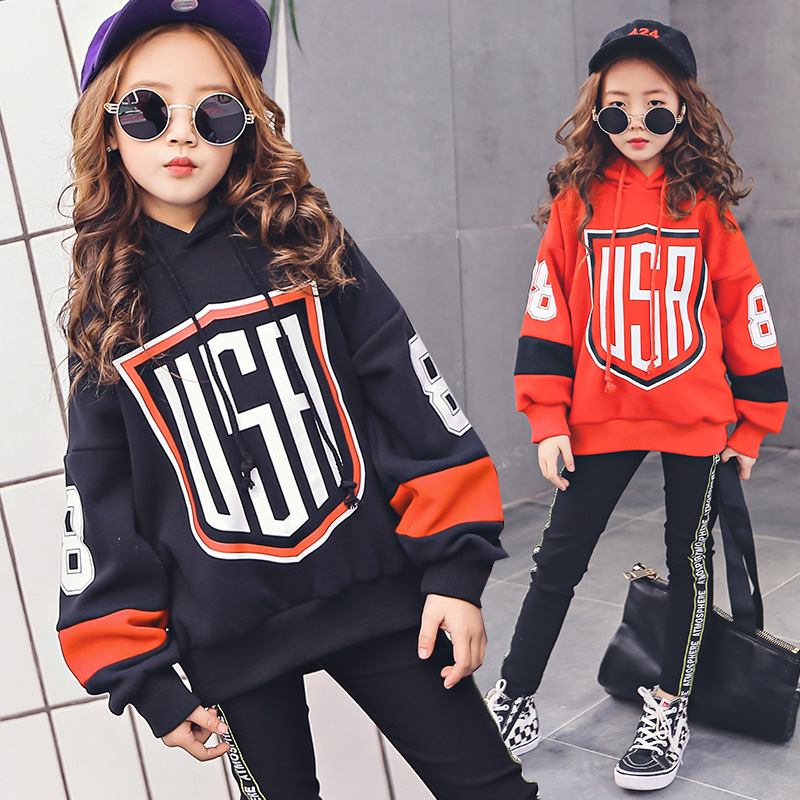 Teenage Girls Clothing Set 6-14Y New 2018 Kids Girls Clothes Sports Suit Long Sleeve Hoodies & Pants 2pcs Set Red Black цена