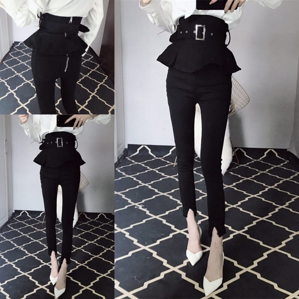 Trousers High Waist Ruffles Peplum Skinny Pants Tunic Zipper Back Chic Black Pants pantalon femme 2019 Fashion trousers women
