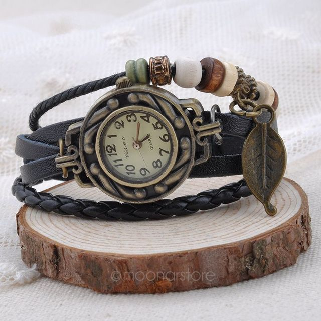 2018 Hot New Vintage Quartz Women Dress Watches Wrap Tree leaf Pendant Leather B