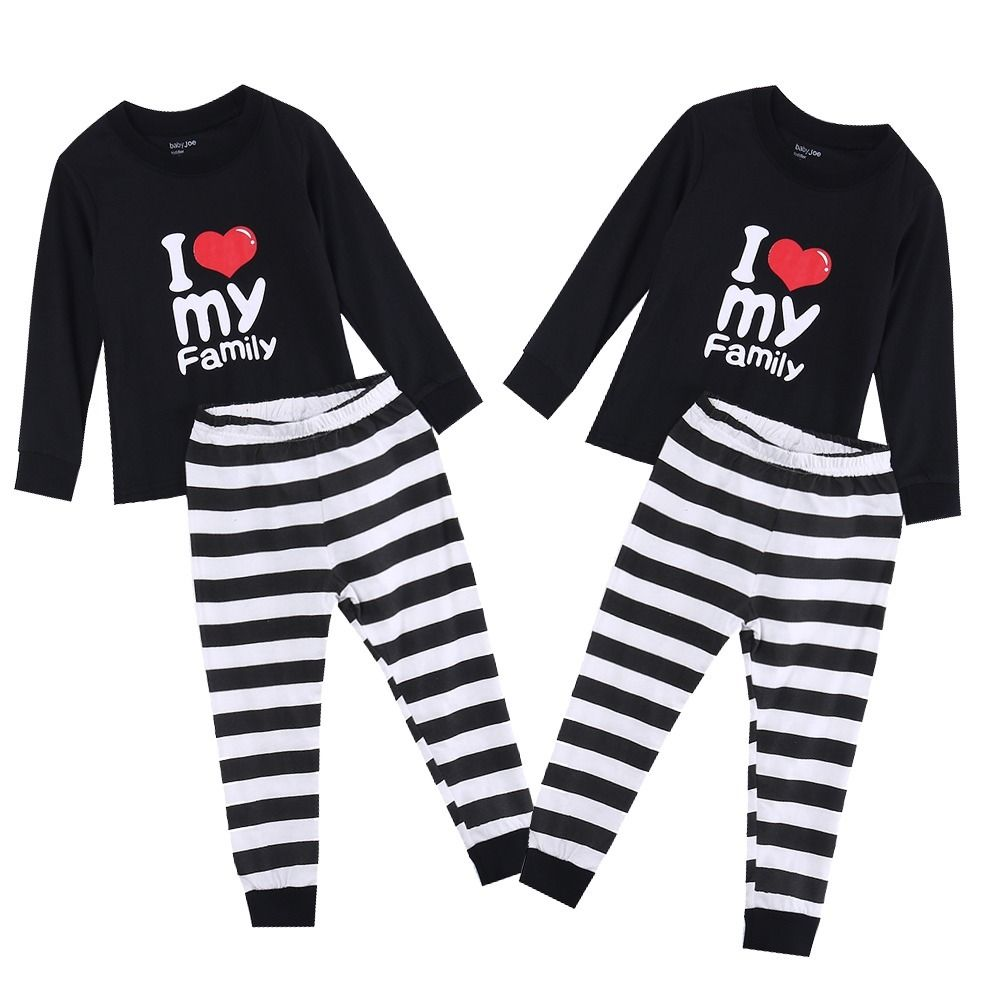 Lovely Baby Kids Girls Boys I LOVE  Printed  Pajamas Babies Kids  Heart Stripe Tracksuit  PJs Sleepwear Set Clothing lovely toddler first walkers baby boys and girls cotton shoes soft bottom hook sneakers i love mom dad