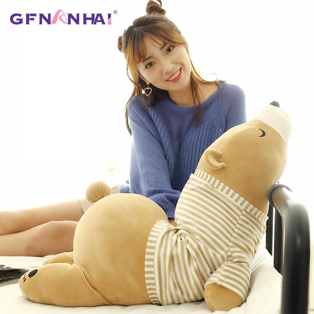 1 adet 35-70CM Kawaii soyunma kutup ayısı peluş bebek bebek yumuşak dolması giyilebilir uyku ayı yastık hayvan peluş oyuncak çocuklar için hediyeler