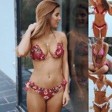 Купить с кэшбэком 2019 Sexy Bikini Women Push Up Swimwear printing Brazilian Bikini Set Low Waist Swimsuit Swim Suit summer Beach Bathing Suits