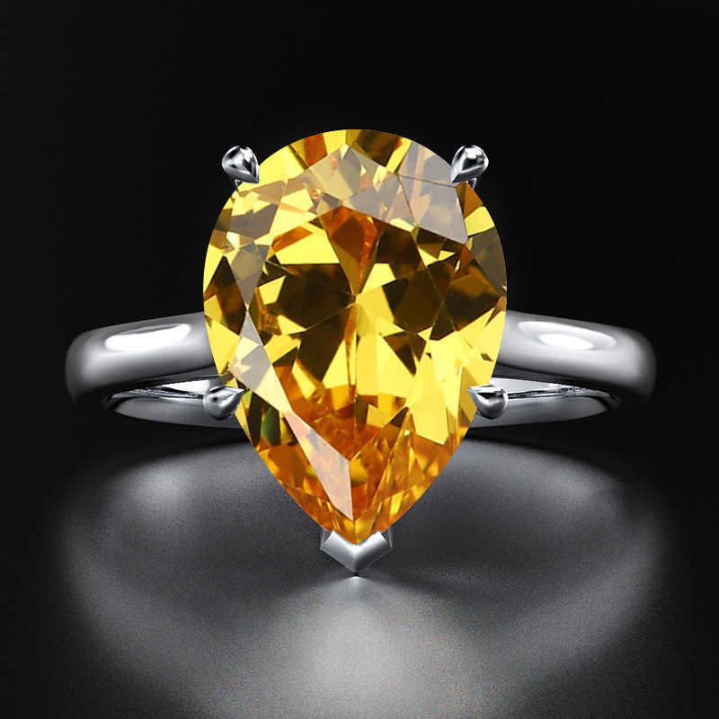 Rainbamabom リアル 925 スターリングシルバー水滴アクアマリン宝石用原石のウェディング婚約ホワイトゴールドリングファインジュエリー卸売