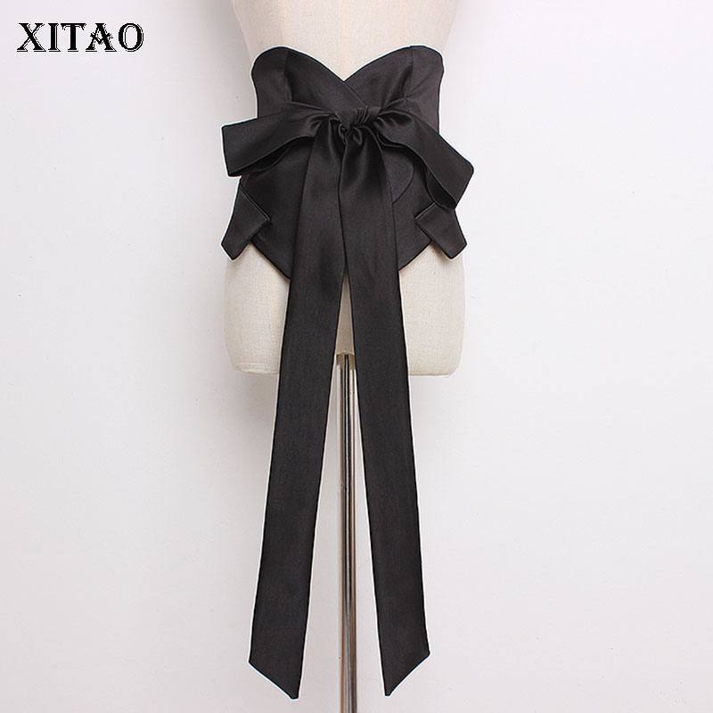 [XITAO] Fashion New Women 2019 Summer Loose Solid Color Cummerbunds Female Bandage Bow Casial Bow Cummerbunds   WBB3080