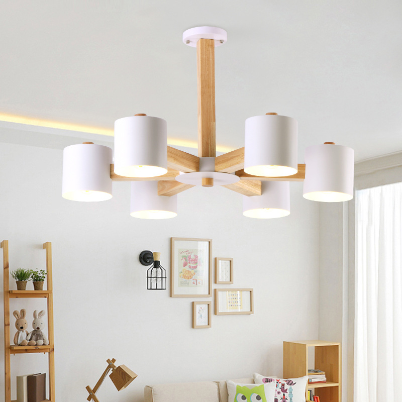 Nordic Wooden Pendant Lamps Modern Light Lamp Wood Metal Dining Room Spider Light Loft Iron Cafe Bar Hanglamp Spider Lights nordic modern 10 head pendant light creative steel spider lamps unfoldable living room dining room post modern toolery led lamp page 10