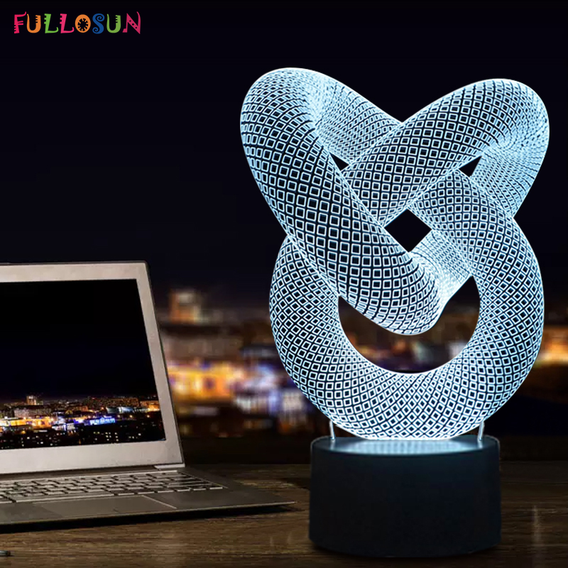 FS-2876 MODERNA NOVA GERAÇÃO SURPREENDENTE 3D LED LAMP TABLE - MESA ou NOITE LIGHT 3DLAMP