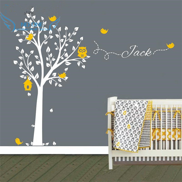 custom made owl tree wall sticker personalized name vinyl wall