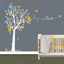 Custom-made Owl Tree Wall Sticker Personalized Name Vinyl Wall Decals for Nursery Boys and Girls Room Decor Home Decoration