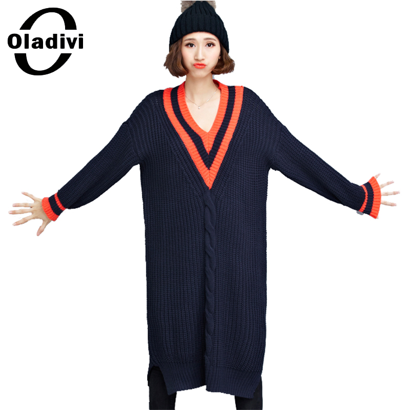 Oladivi 2017 Women's Sweater Dress Winter Autumn Terry Casual V Neck Plus Size Dresses Women Loose Knitted Long Pullovers Tunic afs jeep winter men s long trousers mens straight jeans casual loose waistline autumn long trouser man male botton plus size 42