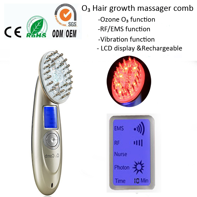 Rechargeable RF EMS Vibration Head Massager Hair Nourishment Regrowth Ozone Therapy Massager Comb Brush For Hair Loss Treatment free shipping 2016 new arrival usb rechargeable electric laser hair growth massager comb brush for hair loss treatment