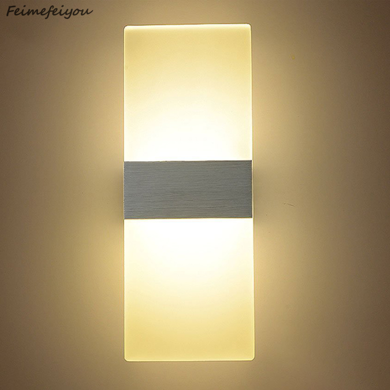 Feimefeiyou Luminaria Led Lighting 6w 22/29cm Length Led Acrylic Wall Lamp AC85-265V Bedding Room Living Room Indoor Wall Lamp