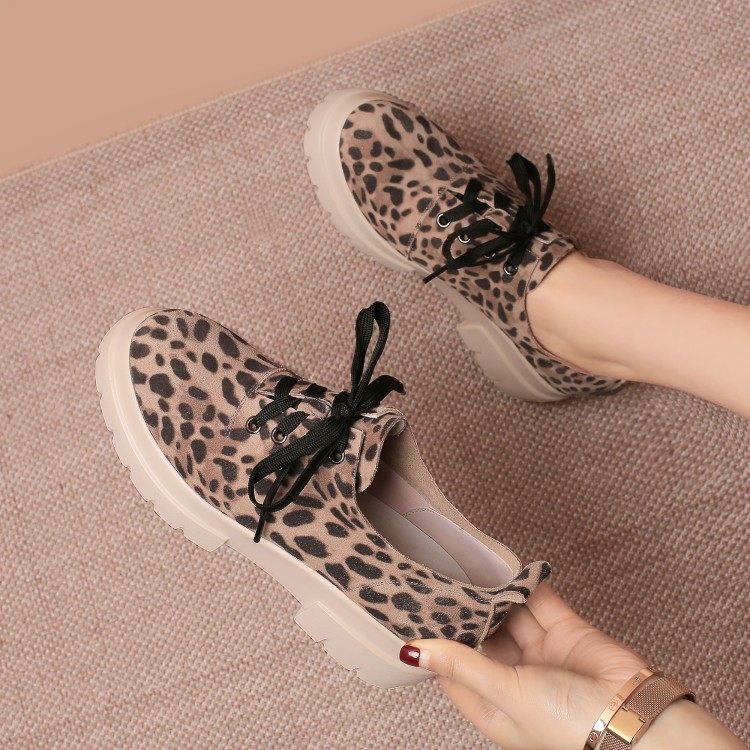 MLJUESE 2018 fashion sneakers Cow Suede lace up shoes autumn spring leopard color Vulcanize Shoes platform