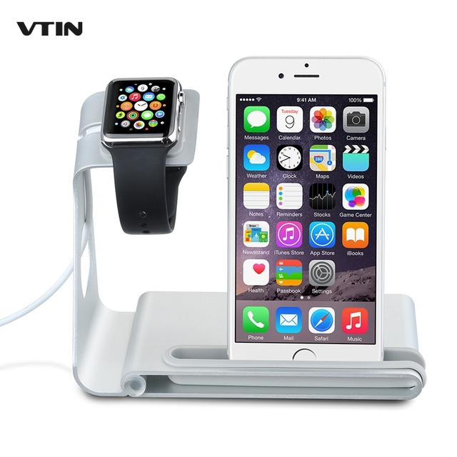 VTIN VAA1S Multifunction Desktop Stand for iphone 7 6s 6 plus /ipad mini Holder Charger Cord Aluminum Alloy Hold For Apple Watch