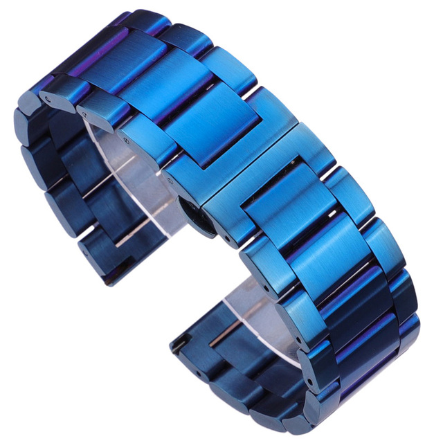 Watch Band Bracelet  316l Stainless Steel Blue Silver Women Men Metal Watcbands Strap Straight End Links 18 20 21 22mm 23mm 24mm | Watchbands
