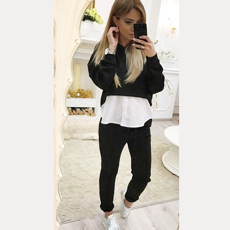 Heißer Verkauf Frauen Herbst Solide Lässige Sportswear Lange-Hülse Mit Kapuze Crop Tops + Hosen Voller Länge Anzug Femme Sets HO833520