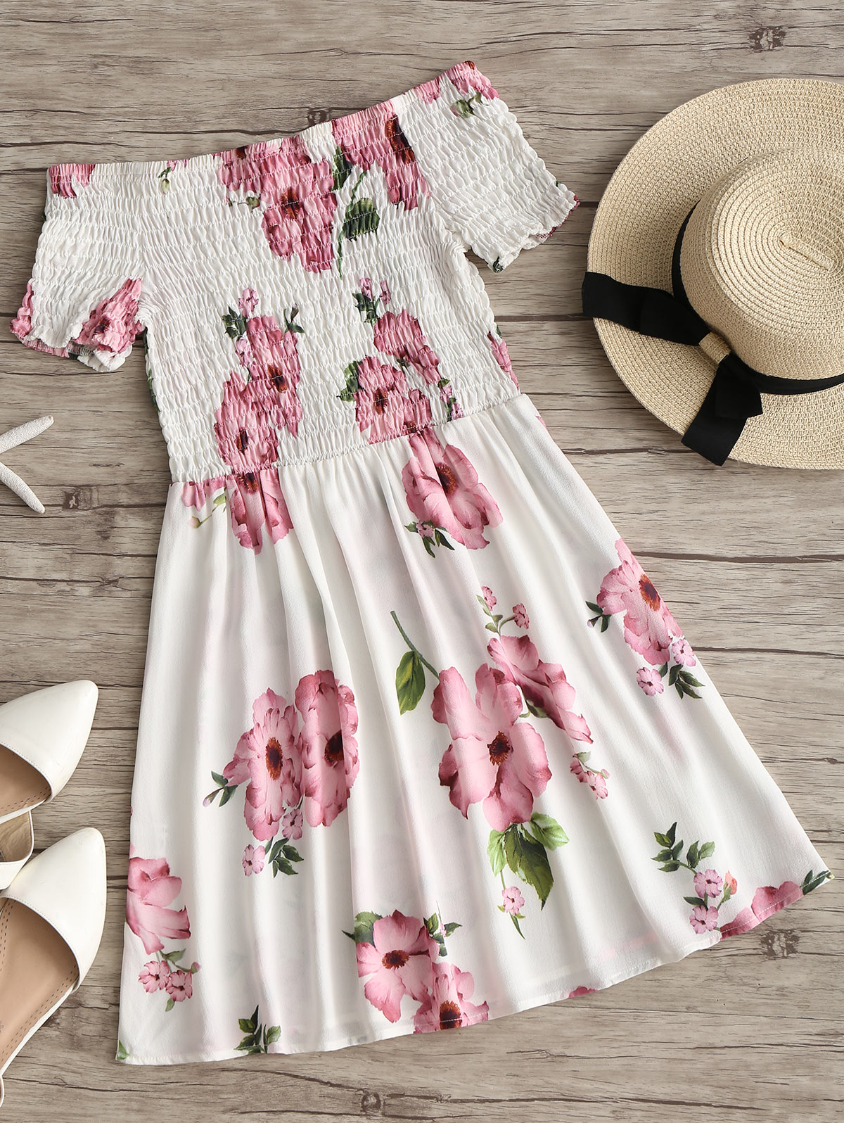HTB1VUymeQfb uJjSsD4q6yqiFXap - Off Shoulder Smocked Flower Flare Dress JKP343