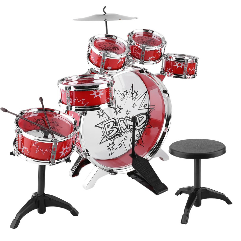 Kids Junior Drum Kit Children Tom Drums Cymbal Stool Drumsticks Set     Kids Junior Drum Kit Children Tom Drums Cymbal Stool Drumsticks Set Musical  Instruments Play Learning Educational Toy Gift in Drum from Sports