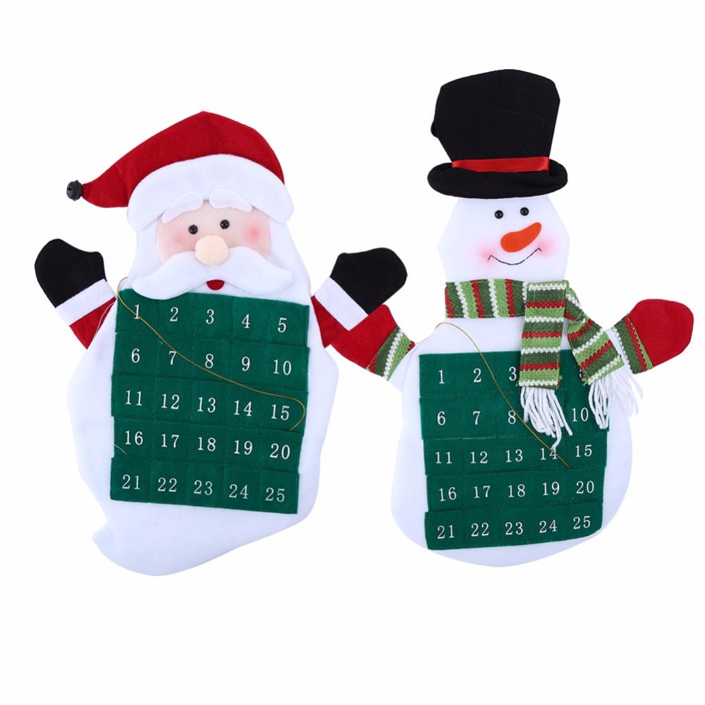 navidad calendario de cuenta regresiva bolsillos telas no tejidas navidad adviento del mueco de nieve