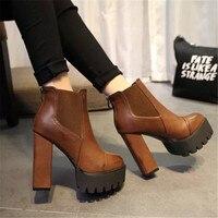 Sexy Ultra High Heels Shoes Woman Martin Boots Autumn Winter Women Bootie Platform Zipper Sapatos Femininos