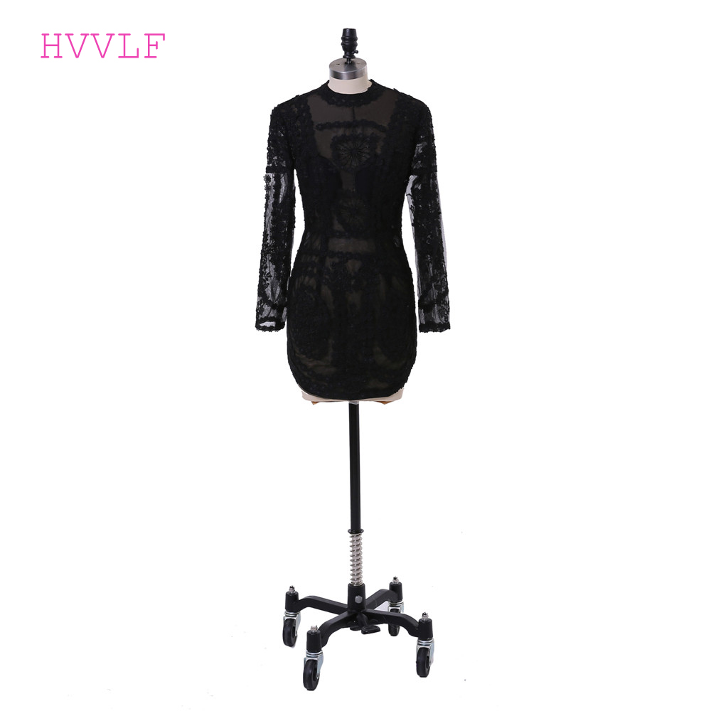 Black 2019 Elegant Cocktail Dresses Sheath High Collar Long Sleeves Short Mini Pearls Lace See Through Homecoming Dresses