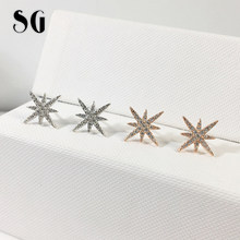 SG 925 Sterling Silver Cubic Zirconia Earrings Hexagon Ear Jacket Front Back Ear Earring dropshipper(China)