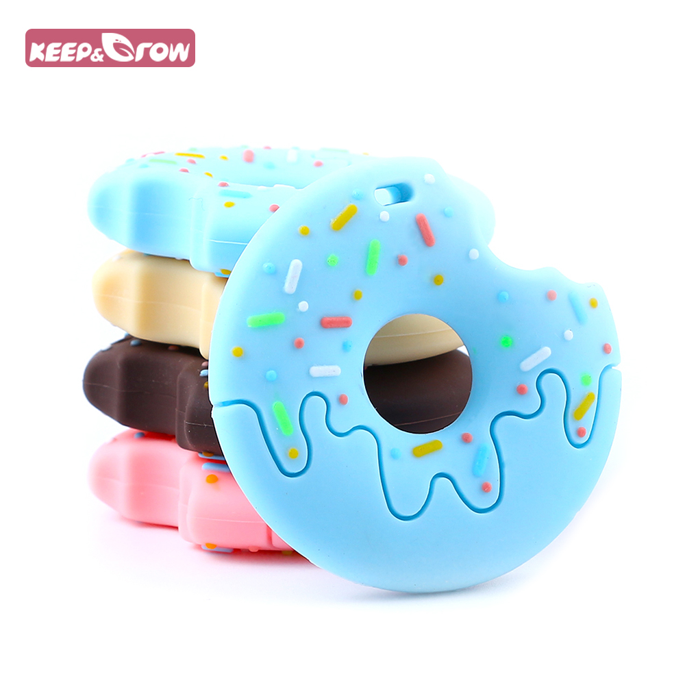 Keep&Grow 1pcs Donut Silicone Teethers BPA Free Baby Teethers Food Grade Baby Teething Toys DIY Infants Nursing Necklace Pendant