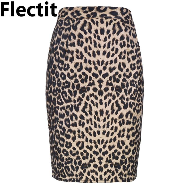 Flectit Faux Suede Leopard Print Skirt Women High Waist Back Split Knee Length Bodycon Pencil Skirt Autumn Winter Vintage Outfit