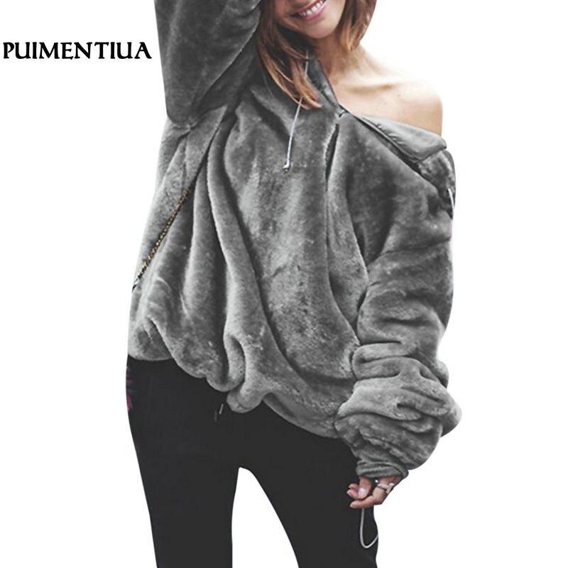 Puimentiua 2018 Autumn Winter Warm Fleece Fur Women Hoodies Casual Hooded Long Sleeve Sweatshirt Oversize Pullover Harajuku Coat