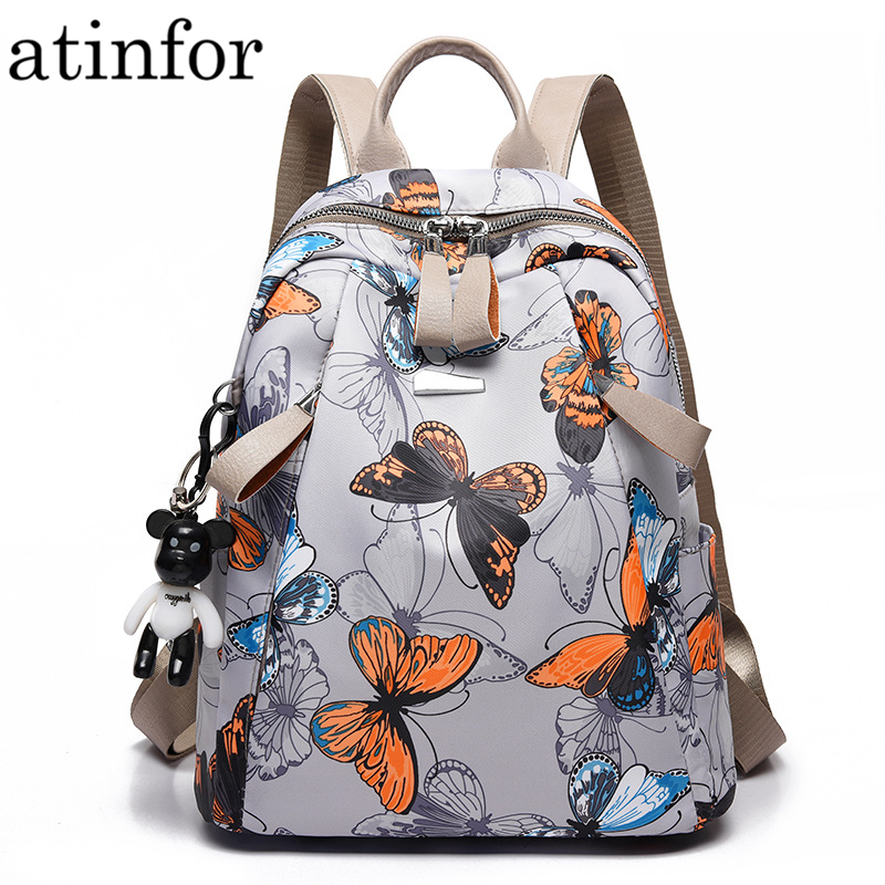 Atinfor Print Backpack Bookbag School-Bag Butterfly Small Anti-Theft Waterproof Women