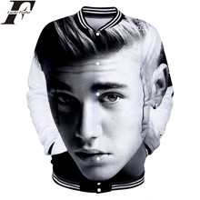 LUCKYFRIDAYF Justin Bieber 3D Baseball Jacket Man/Women Fashion Spring Baseball Jacket POP Star Collage Style Clothes Plus Size(China)