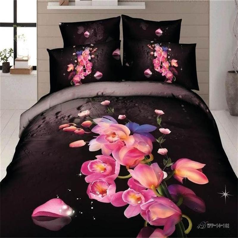 Pink Flower Cherry Peach Blossom Black Bedding Set 100 Cotton Fl Print Modern Queen Size Bed Sheet Quilt Cover Bedlinen In Sets From Home
