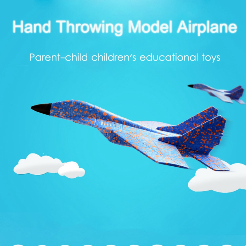 Diy Kids Toys Hand Throwing Model Airplane Foam Aircraft Stunt Luminous Education Epp Glider Fighter Planes Toys For Children in RC Airplanes from Toys Hobbies