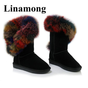 Winter Hottest Flat Snow Boots Round Toe Genuine Leather Colorful Fur Collar Warm Fashion Women Boots