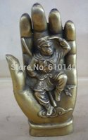 collectable exquisite brass Buddha manus monkey statue