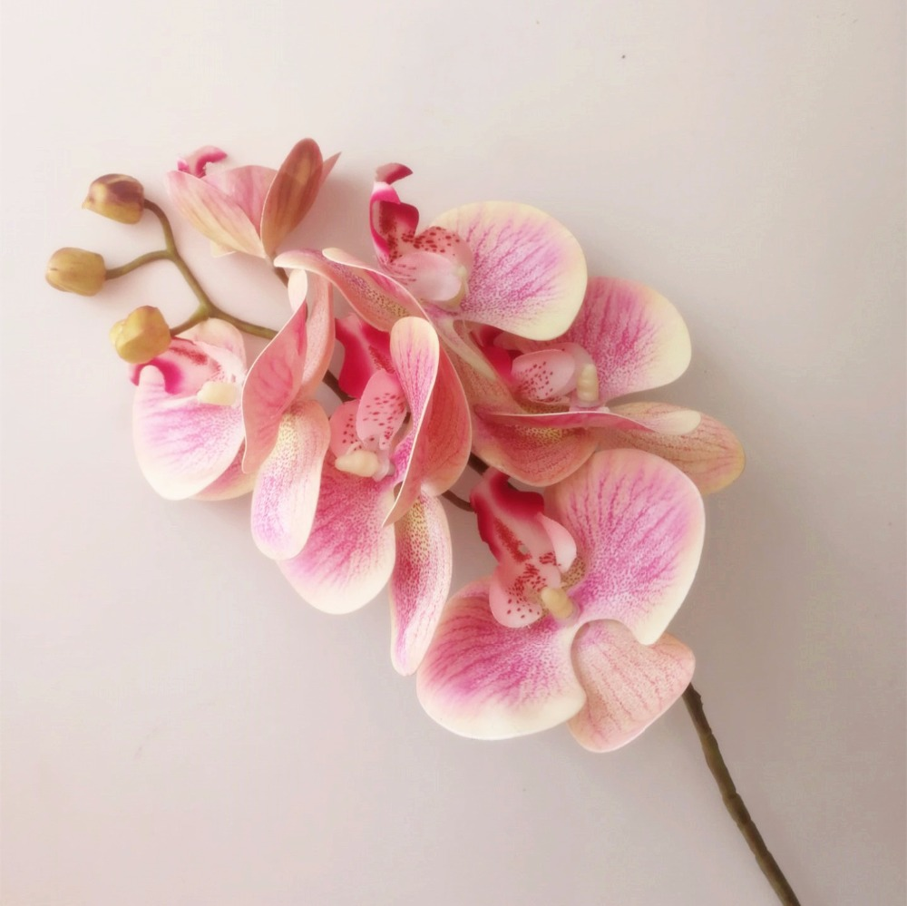 5p Real Touch Orchid Flower Fake Pink Cymbidium Pu 3d Plant Orchids