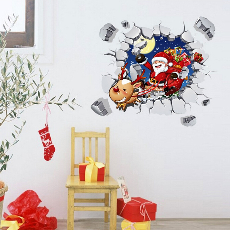 christmas wall sticker free shipping decorative removable living room wall decals 3d christmas wall decor - Christmas Wall Decor