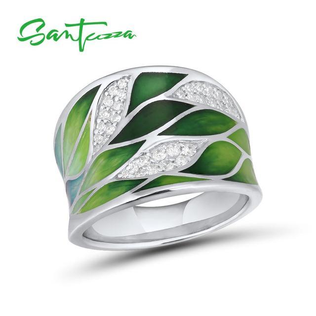 SANTUZZA Silver Rings For Women Genuine 925 Sterling Silver Green Bamboo leaves Luminous CZ Trendy Jewelry Handmade Enamel
