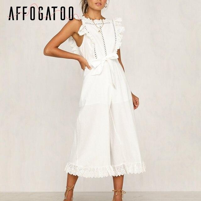 fb8a07f43683 Consultar precio Mono Blanco de lino algodón informal Affogatoo para ...