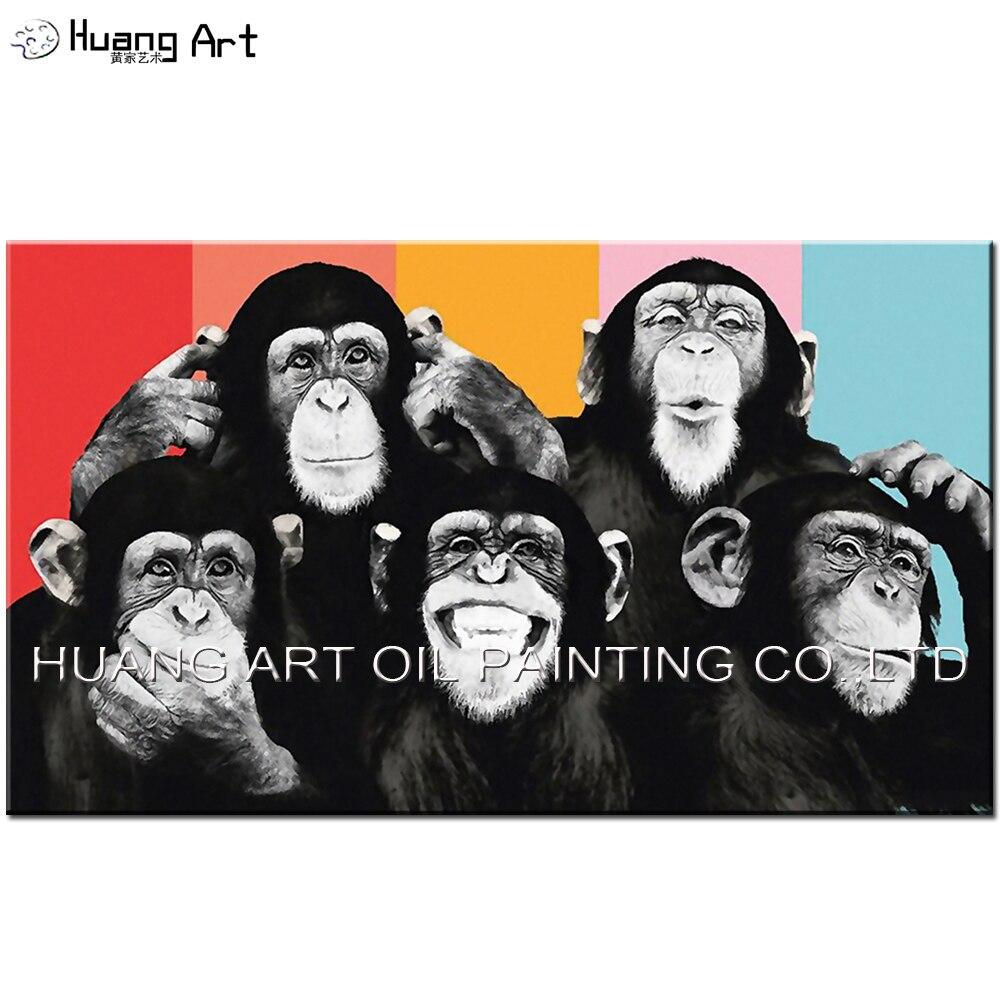 아티스트 디자인 다채로운 침팬지 유화 수제 흑백 오랑우탄 가족 그림 원숭이 동물 예술