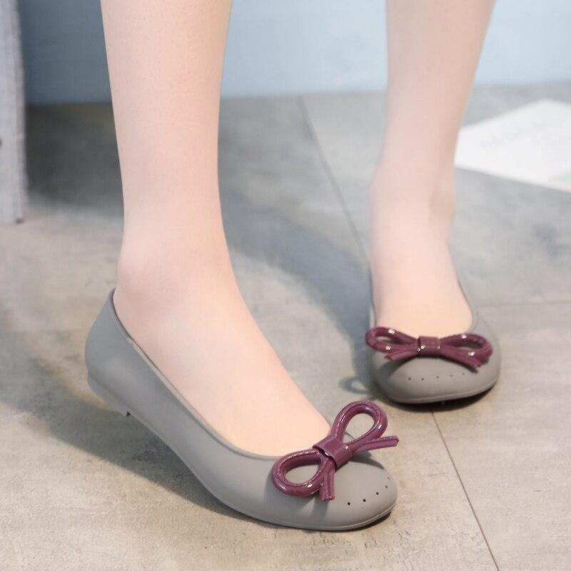 SWYIVY Woman Rainboots PVC Bow Jelly Shoes Woman 2018 Low Cut Female Fashion Water Shoes Lady Waterproof Rain Boots Rainboots 40