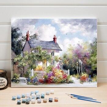 Peinture à numéros, maisonnette en campagne